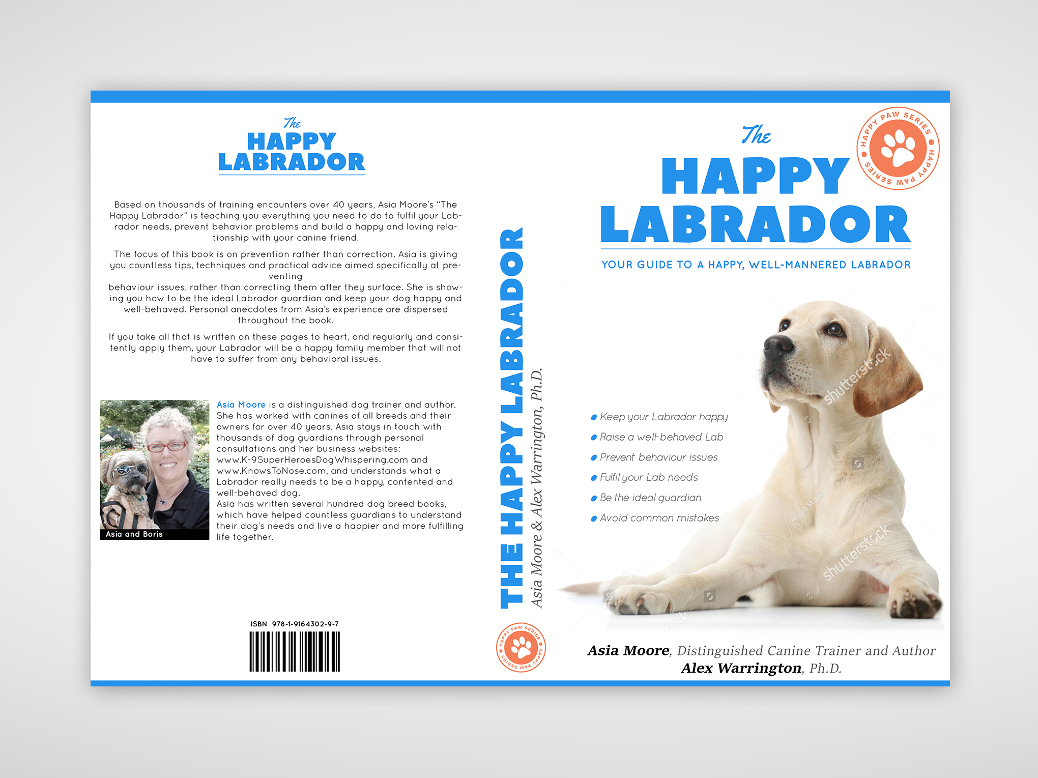 Book cover design 'Happy Labrador' - full layout