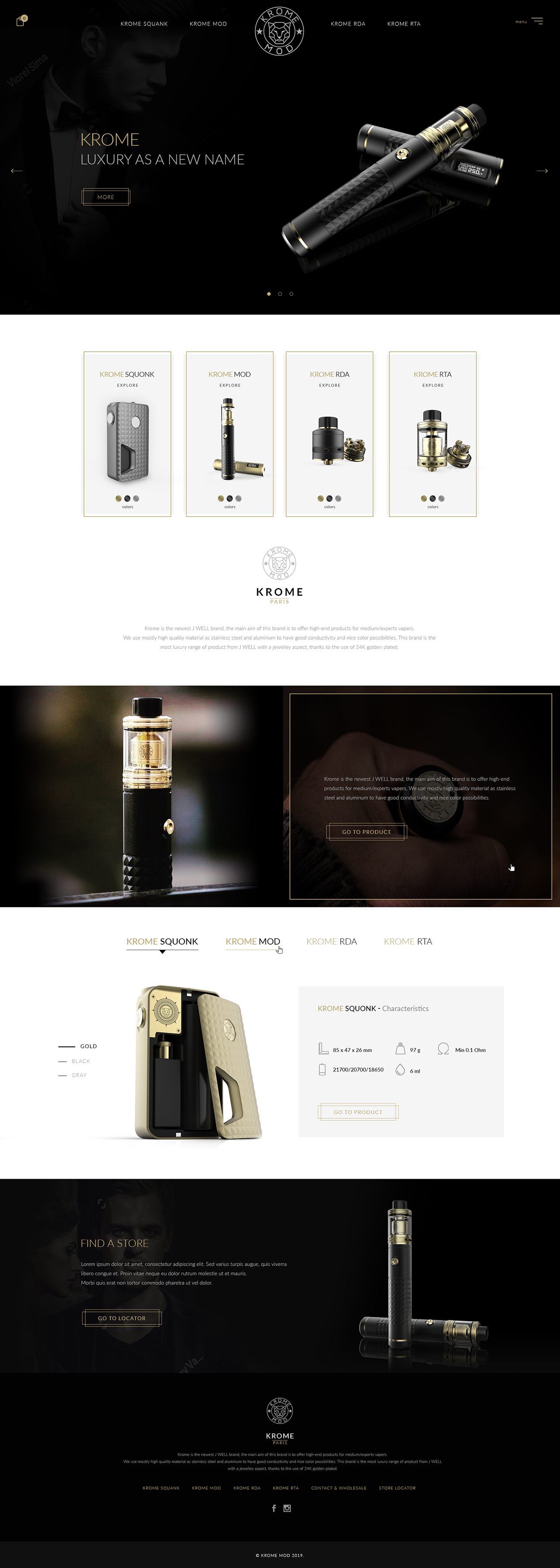 Homepage design proposal for electronic cigarette full page