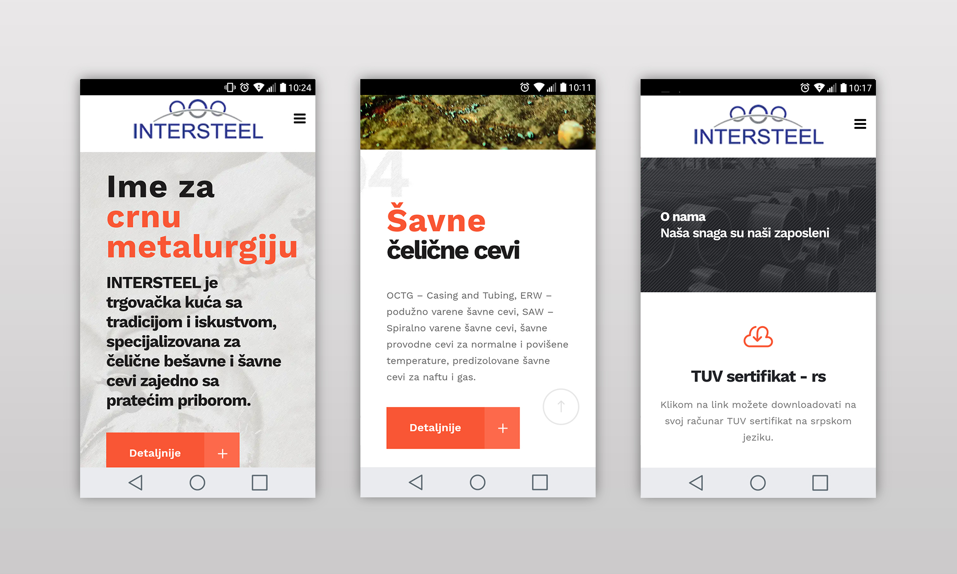 Wesite design for Intersteel-mobile view