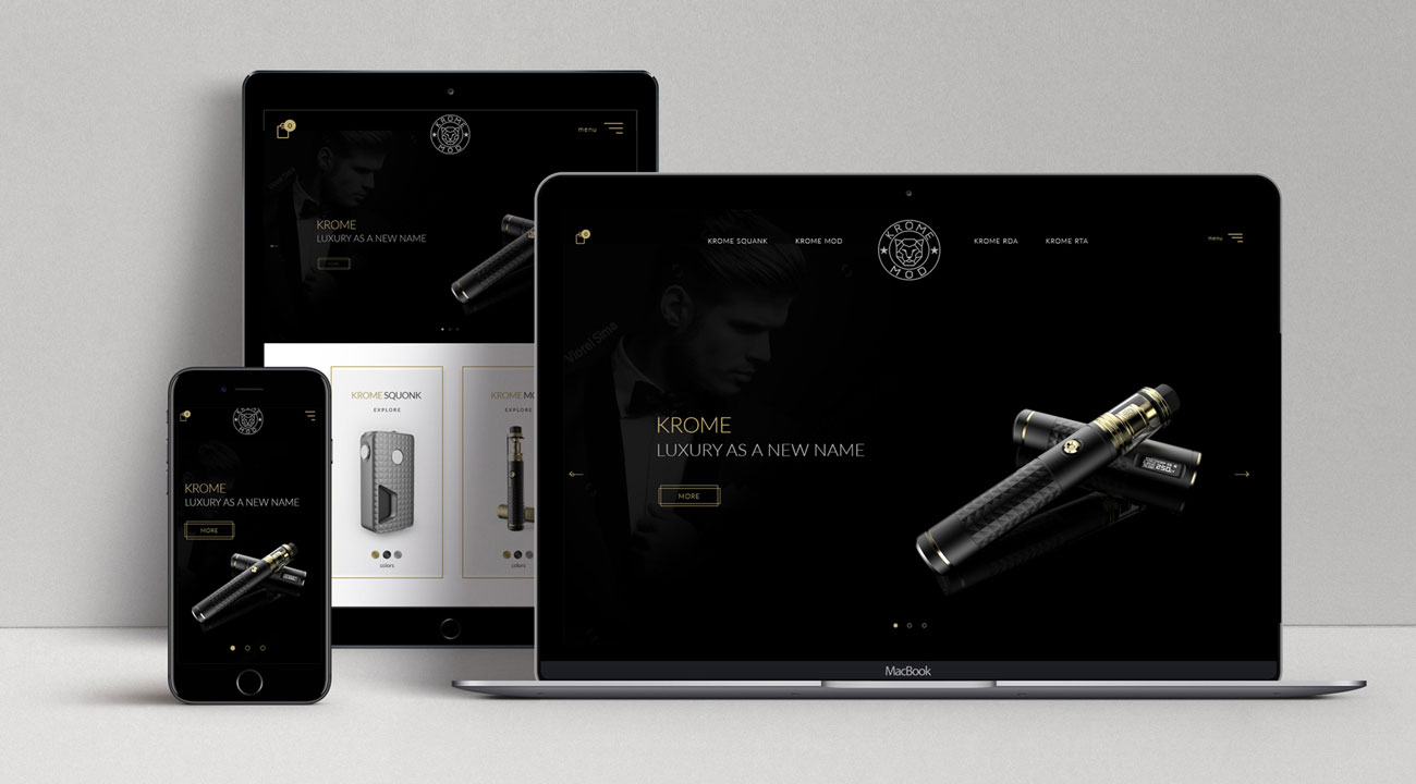 Homepage design for electronic cigarette by Ana Balog design