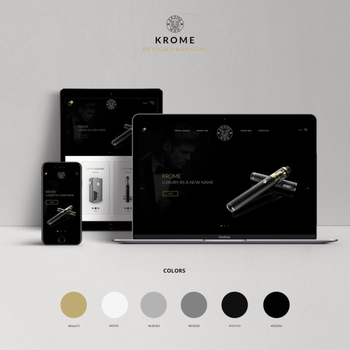 Homepage design proposal for electronic cigarette by Ana Balog design
