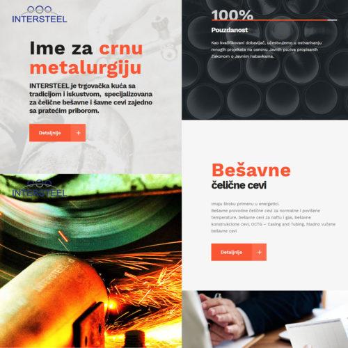 website design for Intersteel - vertical split slider on homepage by Ana Balog design