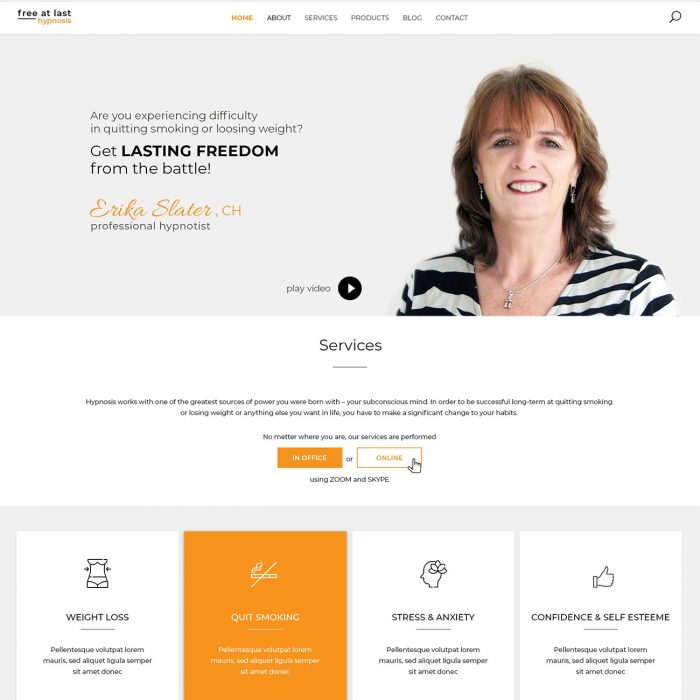 Homepage design for Hypnotheraphst by Ana Balog design