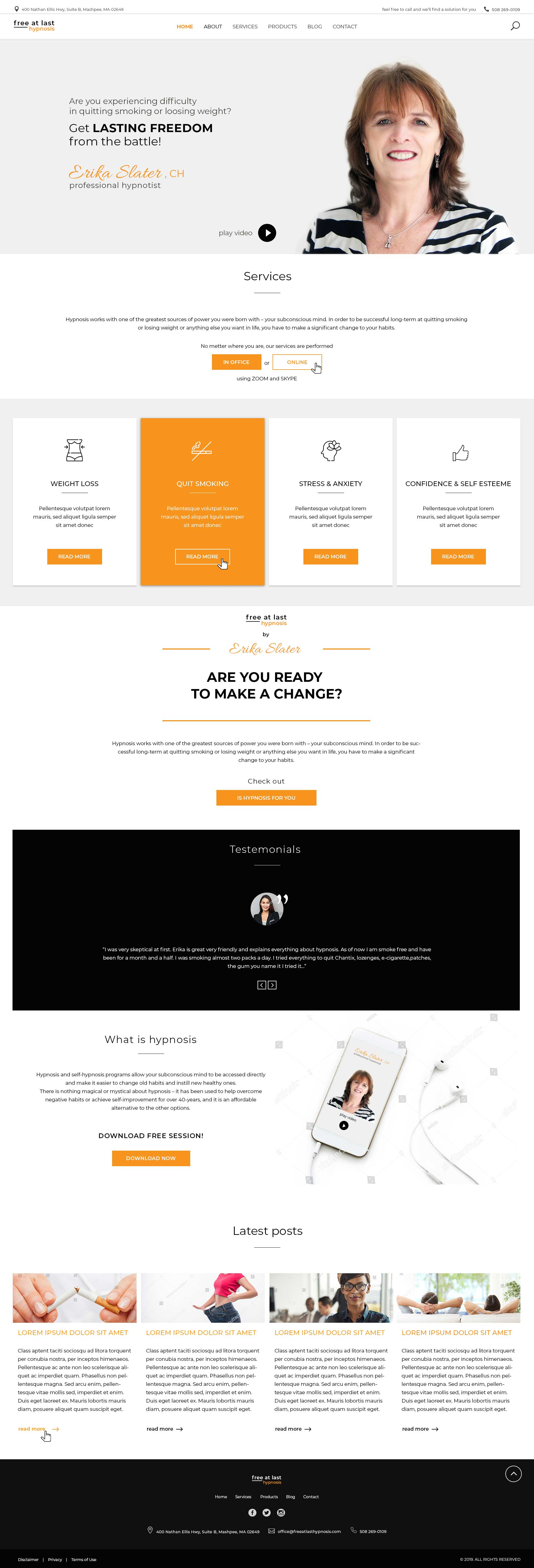 Homepage design for Hypnotheraphst - full page view