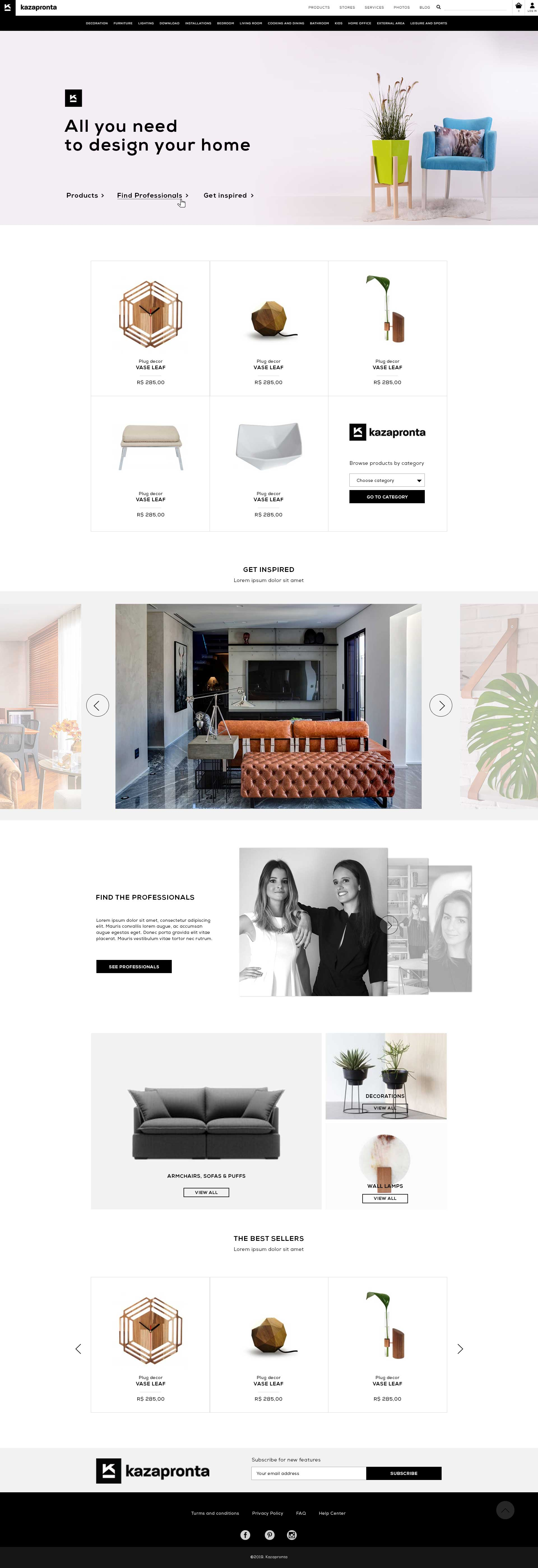 Web shop home decor homepage design - full page view
