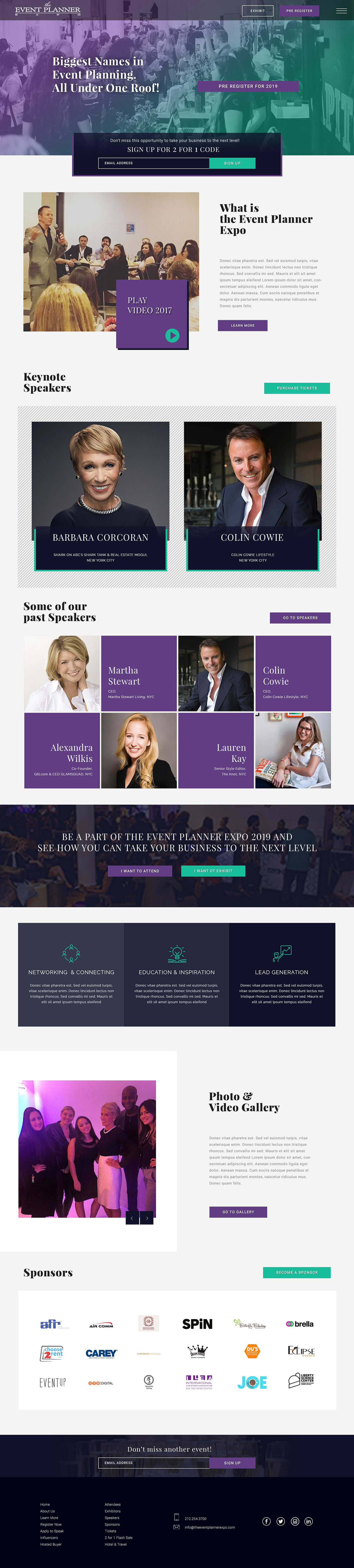 Event landing page design - full page view