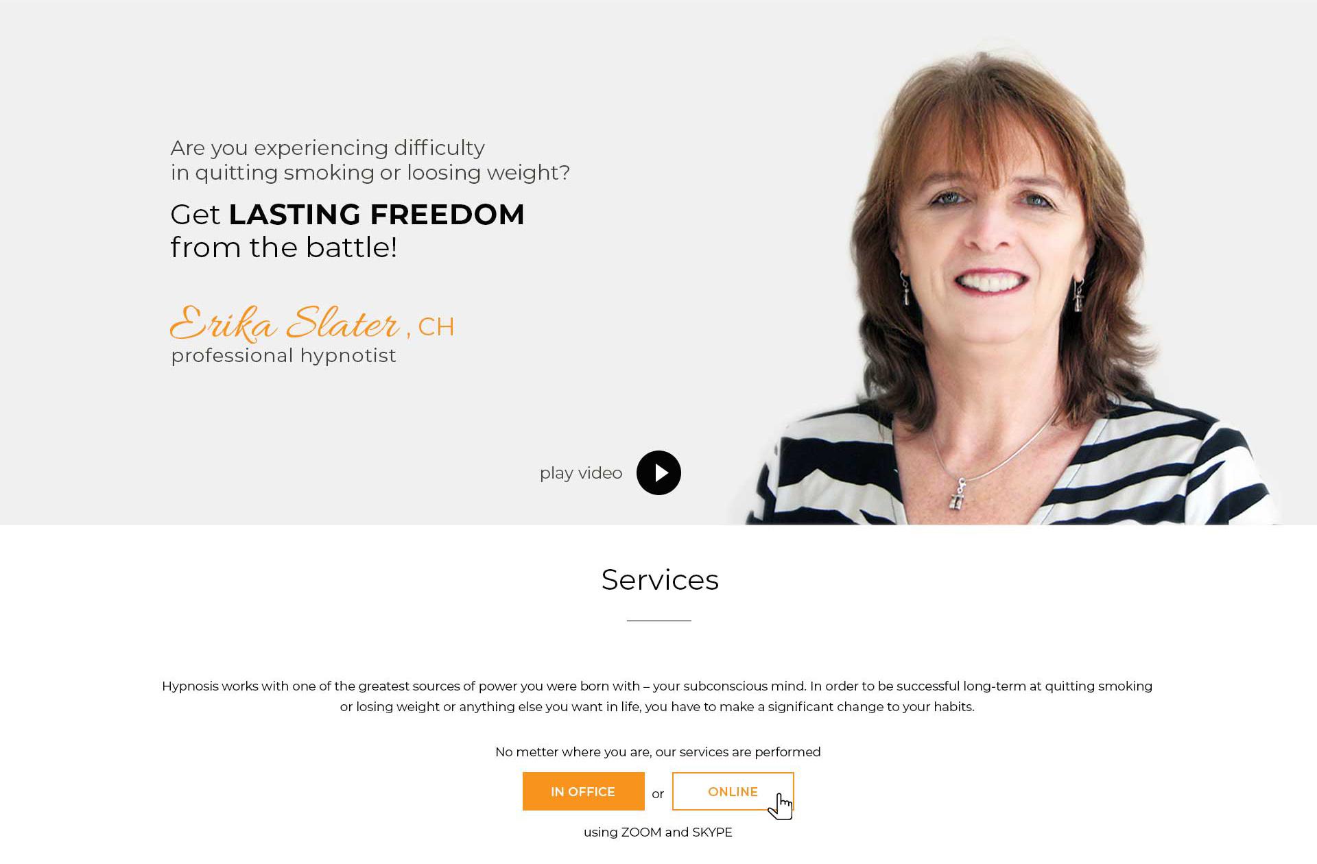 banner - Homepage design for Hypnotheraphst