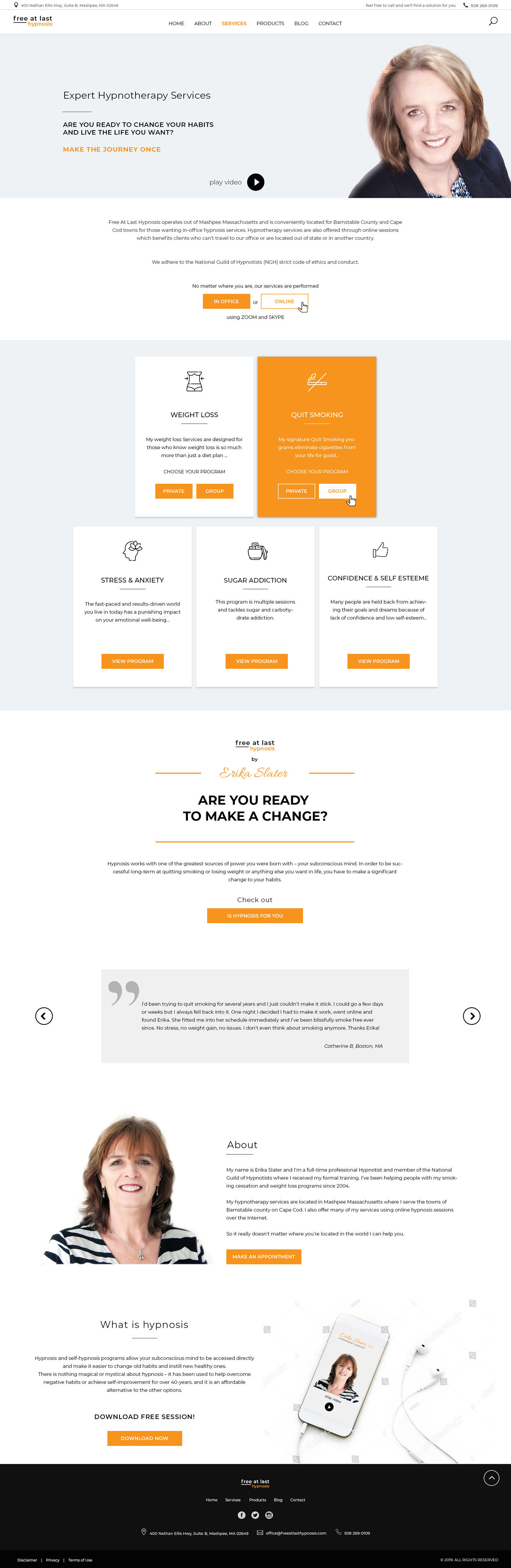 Services - Homepage design for Hypnotheraphst