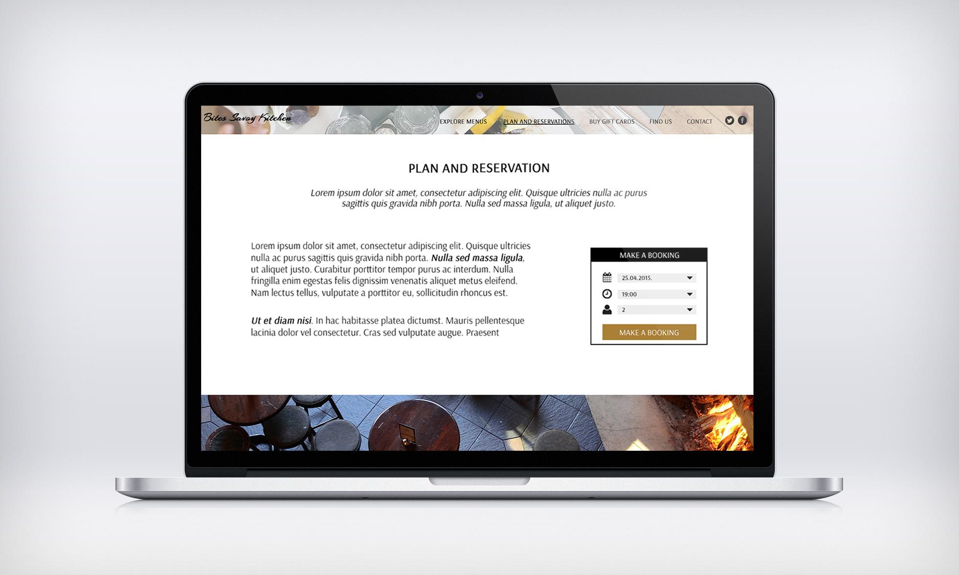 Restaurant with reservation website design | One page site design